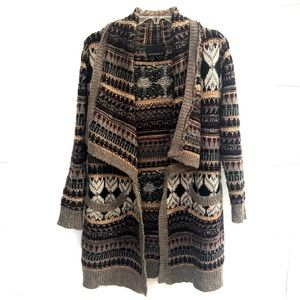 •Cynthia Rowley• Open Front Pocketed Wool Cardigan